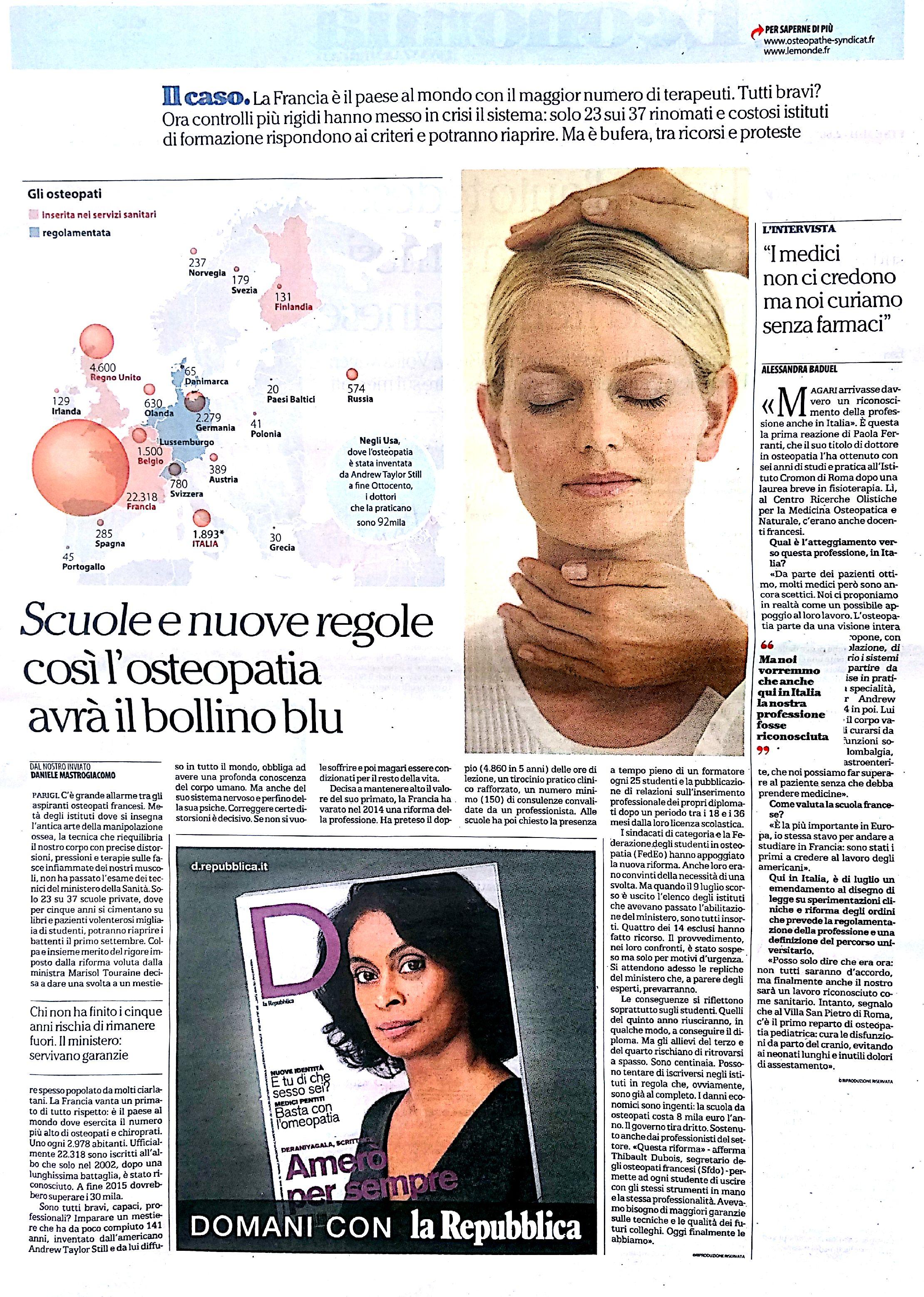 Articolo Osteopatia LA REPUBBLICA 21 Agosto 2015